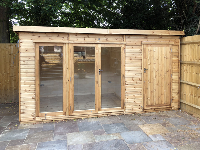 "<p id=""boldtitle"">Garden Room with Storage</p>15' x 7.9 Overall Size.<br/>Garden Room insulated and lined.<br/>With additional Storage Area."