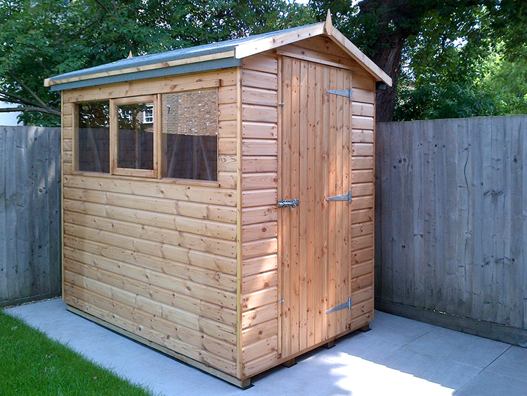 "<p id=""boldtitle"">Gable Shed</p>7' x 5'6"" Gable in T&G Shiplap Cladding.<br/>6"" extra height.<br/>1 x top hung opening window"