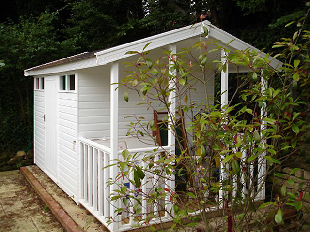 "<p id=""boldtitle"">Bespoke Garden Building</p>Bespoke gable garden building in T&G shiplap cladding.  Fully framed door, security windows, 3' (915mm) verandah, felt tiles and painted.<br/>"
