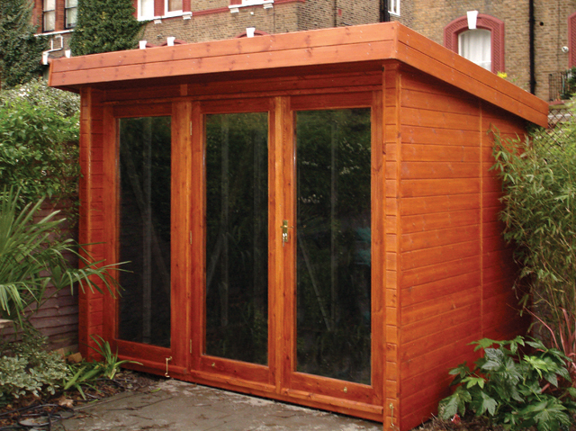 "<p id=""boldtitle"">Bespoke Garden Studio </p>10' x 8' (3050mm x 2440mm) pent garden studio in T&G shiplap cladding.  Fully glazed doors/windows. Stained.<br/>"