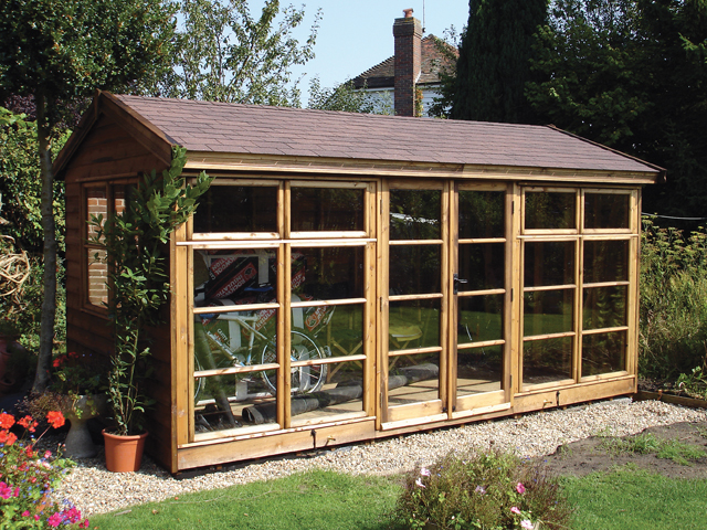 "<p id=""boldtitle"">Bespoke Summerhouse</p>Bespoke gable summerhouse in T&G shiplap cladding.  Brown felt tiles.<br/>"