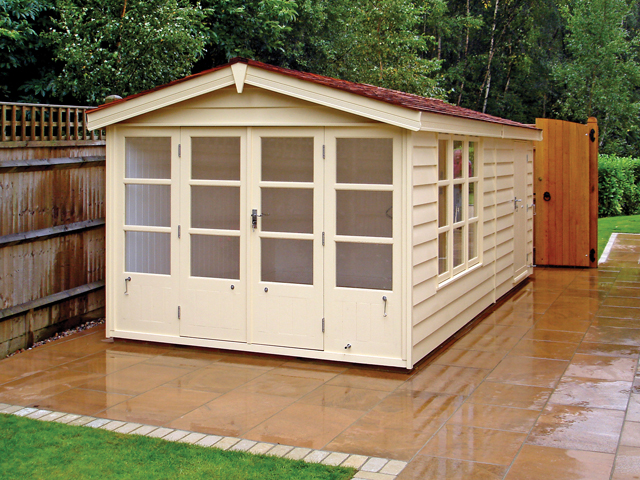"<p id=""boldtitle"">Bespoke Garden Office/store </p>Bespoke garden office/store in prepared weatherboard cladding.  Insulated and lined, double glazed, cedar shingle tiles.  Painted.<br/>"