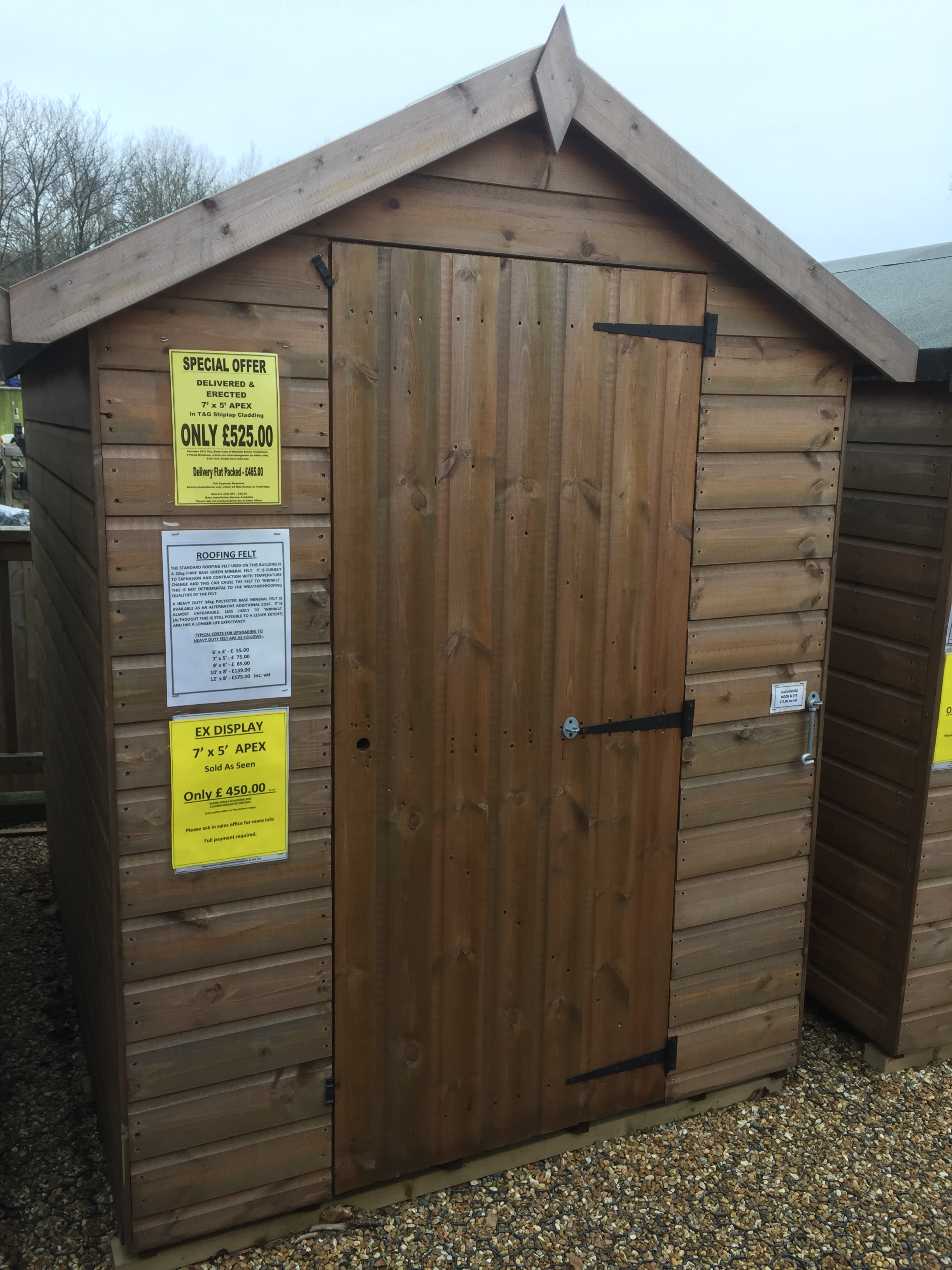 "<p id=""boldtitle"">Ex Display</p>6 x 4 Apex - £ 385.00 delivered and erected.<br/>7 x 5 Apex - £ 450.00 delivered and erected."