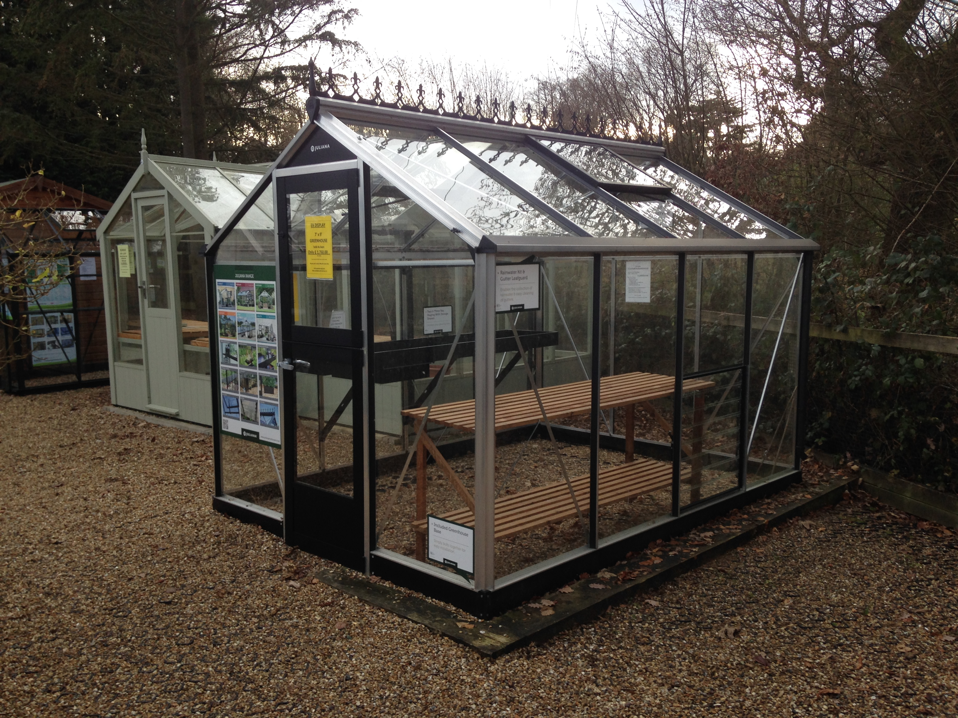 "<p id=""boldtitle"">Ex Display</p>7 x 9 Juliana Greenhouse includes staging and shelf.<br/>£ 1750.00 inc vat."