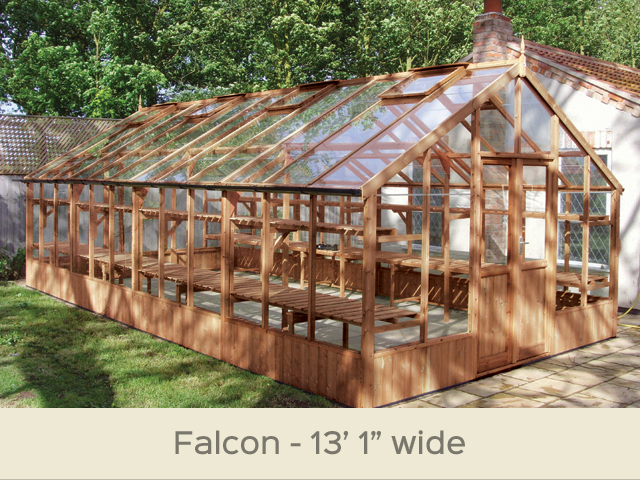 "<p id=""boldtitle"">Falcon Greenhouse</p>13'1"" x 25' ( 3990 x 7650mm) <br/>As standard: At least four roof vents with autovent/s (pro-rata) - toughened glass - double doors - staging along one side - delivery & installation. <br/>Options Shown: Additional side staging - 2 x high level shelves - gutter system. <br/>"