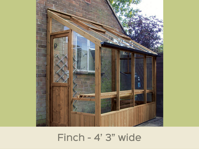 "<p id=""boldtitle"">Finch Lean To Greenhouse</p>4'6"" x 8'4"" (1380 x 2550mm) <br/>As standard: At least one roof vent with autovent/s (pro-rata) - toughened glass - staging along one side - delivery & installation. <br/>Options shown: Gutter system.<br/>"