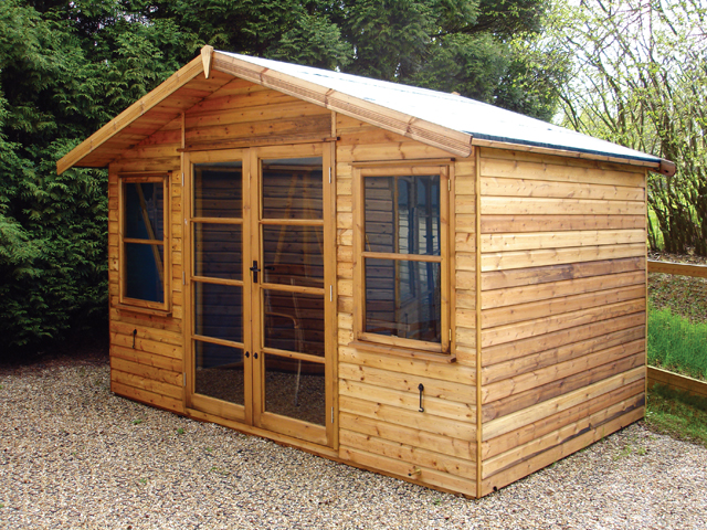 "<p id=""boldtitle"">Gainsborough Chalet</p>8' x 10' (2440mm x 3050mm) Gainsborough chalet.  Shown with optional T&G shiplap cladding and felt roof.<br/>"