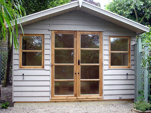 "<p id=""boldtitle"">Gainsborough Chalet</p>10' x 10' (3050mm x 3050mm) Gainsborough chalet in standard prepared weatherboard.  Shown with optional painted walls, double glazed, insulated and lined."