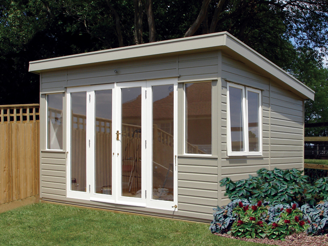 "<p id=""boldtitle"">Garden Room<br/></p>16' x 10' (4880mm x 3050mm) pent garden home office.  Shown with an extra door, two fully glazed panels and extra top hung opening window.  Painted.<br/>"