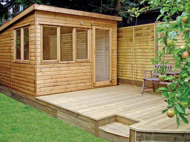 "<p id=""boldtitle"">Garden Home Office </p>10' x 10' (3050mm x 3050mm) pent garden home office.  Shown with two extra fixed windows and fully glazed door.  Decking supplied and laid by our contractor.<br/>"