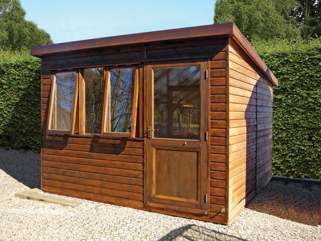 "<p id=""boldtitle"">Garden Home Office<br/></p>10' x 10' (3050mm x 3050mm) pent garden home office in standard T&G shiplap cladding.<br/>"