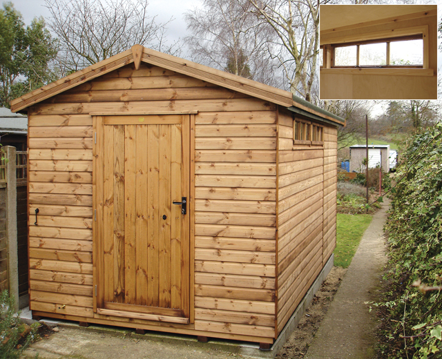 "<p id=""boldtitle"">Heavy Duty Workshop</p>14' x 8' (4270mm x 2440mm) gable workshop in T&G shiplap.  With optional security windows and interior cladding.<br/>"