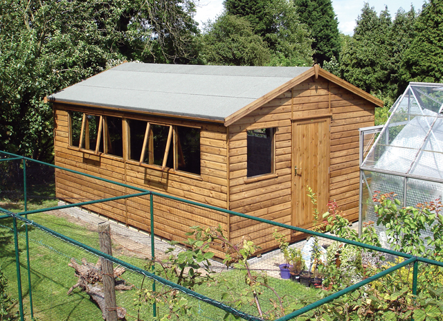 "<p id=""boldtitle"">Heavy Duty Workshop</p>16' x 10' (4880mm x 3050mm) gable workshop in T&G shiplap. <br/>"