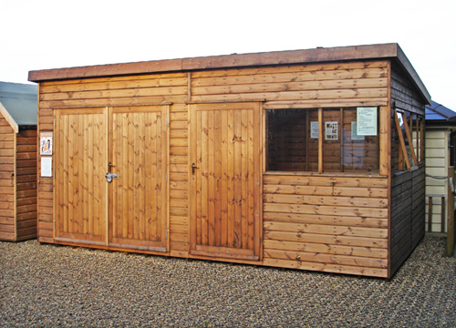 "<p id=""boldtitle"">Heavy Duty Workshop</p>16' x 10' (4880mm x 3050mm) pent workshop in T&G shiplap.  With optional extra set of double doors and internal partition.<br/>"