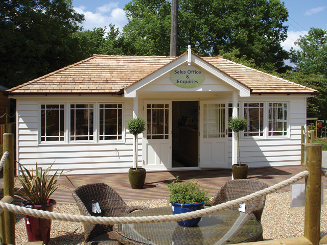 "<p id=""boldtitle"">Hip Roofed Summerhouse<br/></p>Hip roofed summerhouse.  Our sales office at Coolings Green & Pleasant.<br/>"