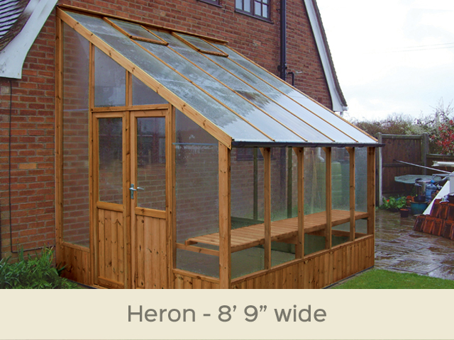 "<p id=""boldtitle"">Heron Lean To Greenhouse</p>8'8"" x 10'5"" (2640 x 3180mm) <br/>As standard: At least one roof vent with autovent/s (pro-rata) - toughened glass - staging along one side - double doors - delivery & installation. <br/>Options shown: Gutter system <br/>"