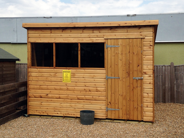 "<p id=""boldtitle"">10 x 8 Budget Style Pent</p>10 x 8 Budget Style Pent<br/>£ 799.00 inc vat and delivery flat packed<br/>(within our free delivery range)<br/>"