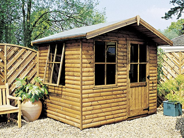 "<p id=""boldtitle"">Jasmin Chalet</p>6' x 8' (1830mm x 2440) Jasmin chalet. Shown with optional loglap cladding.<br/>"