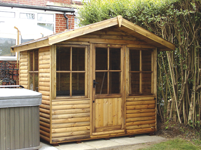 "<p id=""boldtitle"">Jasmin Chalet</p> 6' x 8' (1830mm x 2440) Jasmin chalet. Shown with optional loglap cladding, felt roof tiles and extra side window.<br/>"