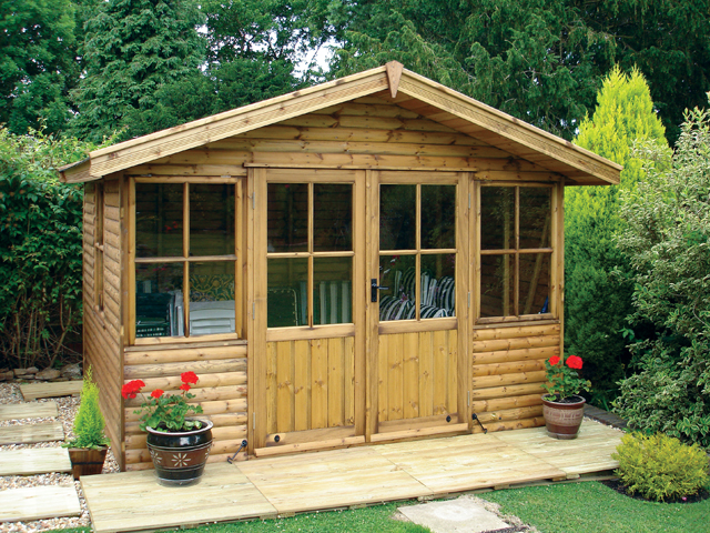 "<p id=""boldtitle"">Jasmin Chalet</p> 8' x 10' (2440mm x 3050mm) Jasmin chalet.  Shown with optional loglap cladding, double doors, side window and felt roof tiles.<br/>"