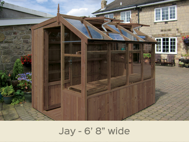 "<p id=""boldtitle"">Jay Potting Shed</p>6'8""x 8'4"" ( 2035 x 2550mm)<br/>As standard: Two roof vents with autovents - one side vent - toughened glass - two rear shelves - staging at front <br/>delivery & installation. <br/>Options shown: Gutter system - high level shelf.<br/>"