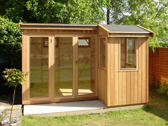 "<p id=""boldtitle"">Kent Studio</p>Kent studio in cedar cladding with cedar doors & windows, double glazed, breather membrane, <br/>insulated floor.  Customer to insulate and line.<br/>Made to customers requirements.<br/>"