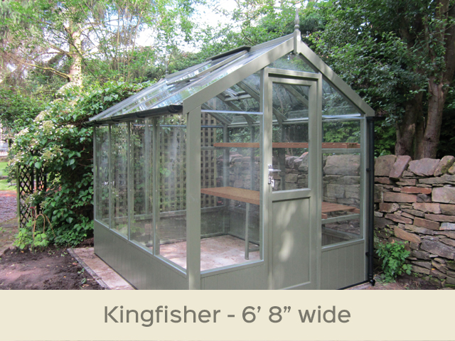 "<p id=""boldtitle"">Kingfisher Greenhouse</p>6'8"" x 8'4"" (2035 x 2550mm) <br/>As standard: At least two roof vents with autovents - toughened glass - staging along one side - delivery & installation.<br/>Options shown: Painted Bracken - gutter system - additional shelf (painted).<br/>"