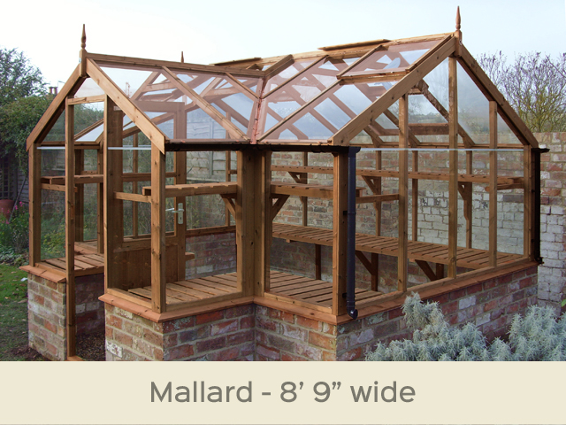 "<p id=""boldtitle"">Mallard T-Shaped Greenhouse</p>8'9"" wide.  Porch width 6'8"" x 11'5"" (2660 x 3490mm) <br/>Shown cut down to fit onto dwarf wall (supplied by others)<br/>As standard: At least four roof vents with autovent/s (pro-rata) - toughened glass - staging along the two front returns - guttering along the two front returns - delivery & installation. <br/>Options shown: Rear staging - high level shelf. <br/>"