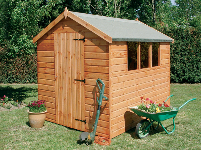 "<p id=""boldtitle"">Special package prices</p>6' x 4' (1830mm x 1220mm) Economy Apex gable shed - delivered/erected - £399.00 inc vat<br/>7' x 5' (2135mm x 1525mm) Economy Apex gable shed - delivered/erected - £525.00 inc vat<br/>8' x 6' (2440mm x 1830mm) Economy Apex gable shed - delivered/erected - £590.00 inc vat<br/>T&G shiplap cladding.  T&G floor & roof.  Windows can be positioned either side. <br/>"