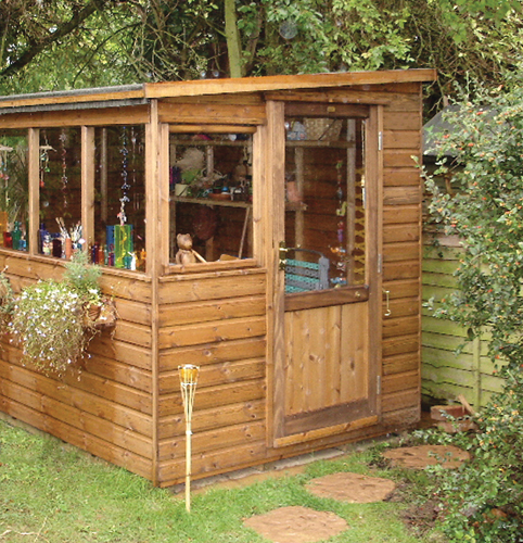 "<p id=""boldtitle"">Pent Potting Shed</p>8' x 6' (2440mm x 1830mm) pent potting shed in T&G shiplap.  Windows on lower side.  Shown with optional half glazed door and window box.<br/>"