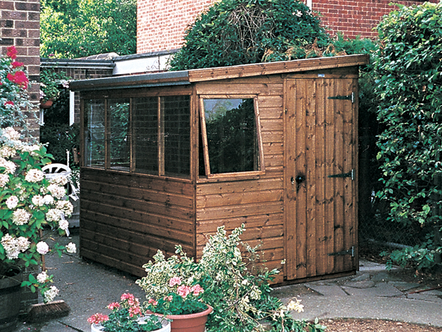 "<p id=""boldtitle"">Pent Potting Shed</p>8' x 6' (2440mm x 1830mm) pent potting shed in T&G shiplap.  <br/>Windows on lower side.<br/>"