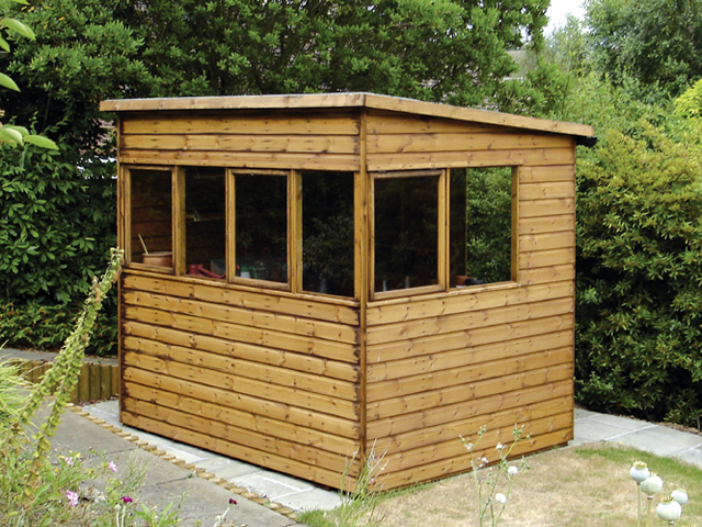 "<p id=""boldtitle"">Pent Potting Shed</p>8' x 6' (2440mm x 1830mm) pent potting shed in T&G shiplap.  <br/>Showing optional extra 6"" (150mm) height. <br/>With windows on higher side and door at back on lower side.<br/>"