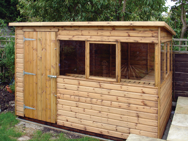 "<p id=""boldtitle"">Pent Potting Shed</p>10' x 6' (3050mm x 1830mm) pent potting shed in T&G shiplap. <br/>With windows on two sides only.<br/>"