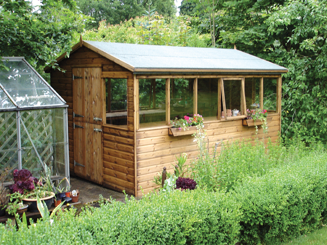 "<p id=""boldtitle"">Gable Potting Shed</p>12' x 8' (3660mm x 2440mm) gable potting shed in T&G shiplap.  <br/>Shown with optional stable door, extra side windows and two window boxes.<br/>"