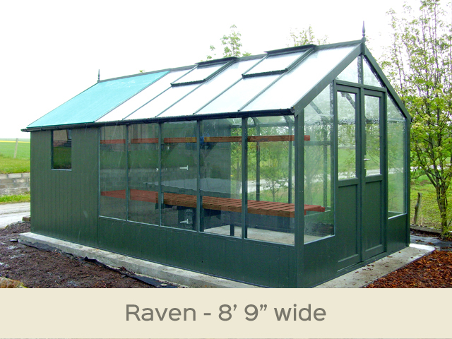"<p id=""boldtitle"">Raven Greenhouse</p>8'9"" x 10'5"" (2660 x 3180mm) <br/>As standard: At least two roof vents with autovents (pro-rata) - toughened glass  - double doors - staging along one side - delivery & installation.<br/>Options shown: 6'4"" (1290mm) Painted Olive Combination shed - fixed window in combination shed - gutter system. <br/>"