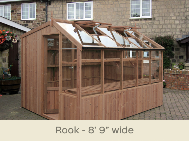 "<p id=""boldtitle"">Rook Potting Shed</p>8'9"" x 10'5"" (2660 x 3180mm) <br/>As standard: Two roof vents with autovents - one side vent - toughened glass - two rear shelves - staging at front - delivery & installation. <br/>Options shown: Gutter system - high level shelf. <br/>"