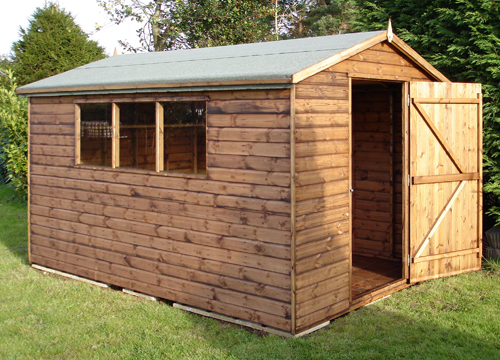 "<p id=""boldtitle"">Standard Gable Shed</p>12' x 8' (3660mm x 2440mm) gable in T&G shiplap.  <br/>An example of Gable shed Plan A.<br/>"