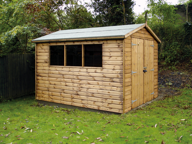 "<p id=""boldtitle"">Standard Gable Shed </p>10' x 8' (3050mm x 2440mm) gable in T&G shiplap.  With optional extras: 5' (1525mm) double doors and padbolt protector.  Placed on concrete base.  A variation of Gable shed Plan A.<br/>"
