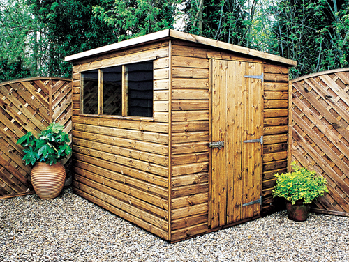 "<p id=""boldtitle"">Standard Pent Shed </p>8' x 6' (2440mm x 1830mm) pent in T&G shiplap.  <br/>An example of Pent Plan H.<br/>"