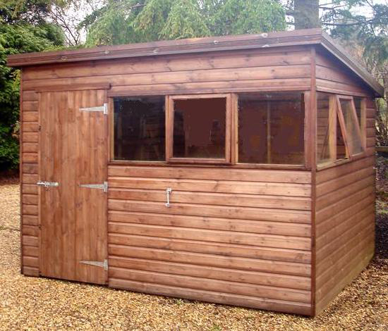 "<p id=""boldtitle"">Standard Pent Shed </p>10' x 8' (3050mm x 2440mm) pent in T&G shiplap.  With optional extras: two top hung opening windows and additional fixed window; galvanised hook and eye.  Mahogany stain finish.  A variation of Pent shed Plan E."