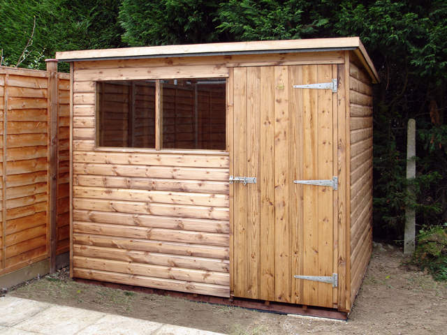 "<p id=""boldtitle"">Standard Pent Shed</p>8' x 6' (2440 x 1830mm) Standard Pent Shed in T&G Shiplap Cladding.<br/>Example of Plan F"