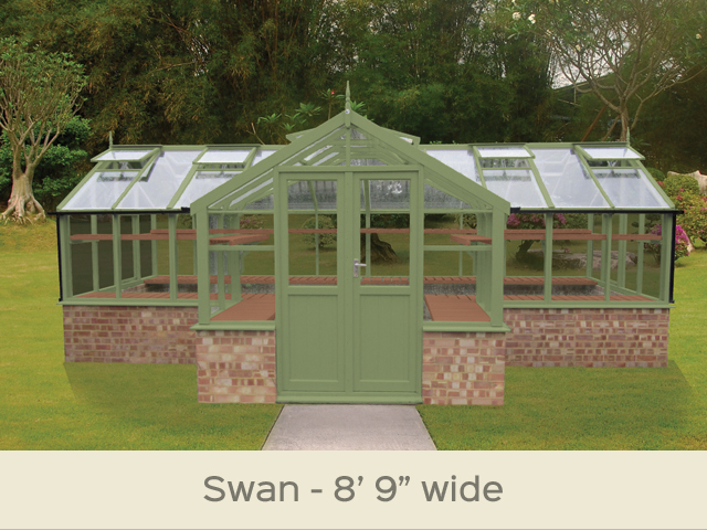 "<p id=""boldtitle"">Swan T-Shaped Greenhouse</p>8'9"" wide.  Porch width 8'9"" x 21'11"" (2660 x 6702mm) <br/>Shown cut down to fit onto dwarf wall (supplied by others)<br/>As standard: At least four roof vents with autovent/s (pro-rata) - toughened glass - double doors - staging along the two front returns - guttering along the two front returns - delivery & installation.<br/>Options shown: Painted Bracken - rear staging (painted) - high level shelf (painted).<br/>"