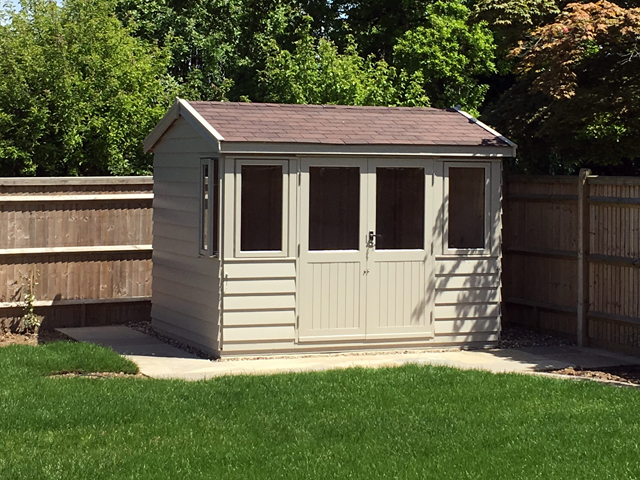 "<p id=""boldtitle"">Garden Room</p>10 x 8 Garden Room in Prepared Weatherboard Cladding.<br/>Painted to customers choice.<br/>Doors and windows positioned to customers requirements.<br/>Brown Felt Tiles.<br/>Insulated and Lined.<br/>"
